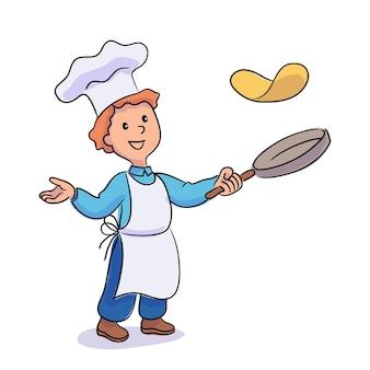 Маленький мальчик готовит, бросая блины на сковороде