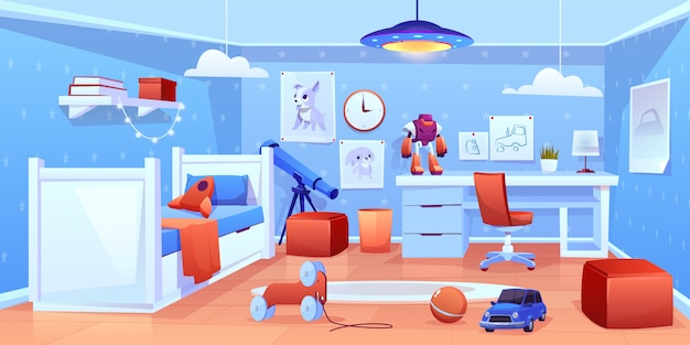 Little boy cozy bedroom interior illustration