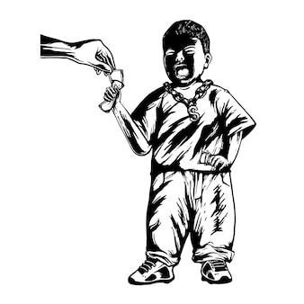 キャラクターのベクトル図を泣いている小さな男の子