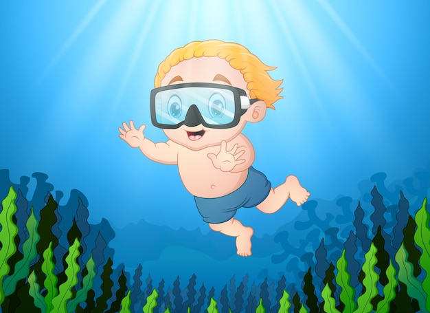 바다에서 다이빙하는 어린 소년
