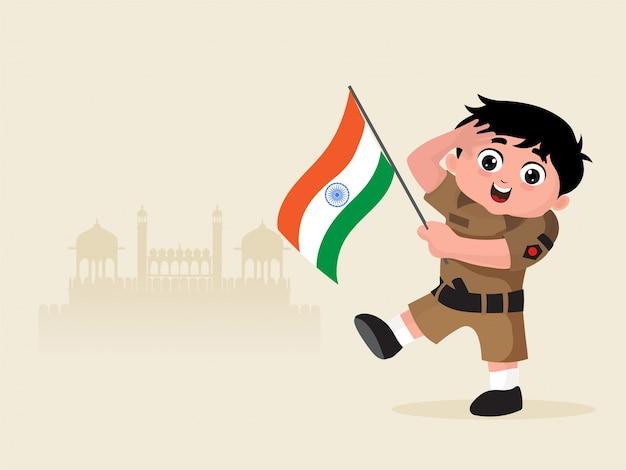 Маленький мальчик одет как солдат индийской армии с флагом.