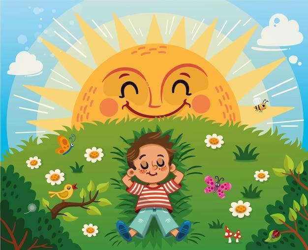 Маленький мальчик, наслаждаясь солнцем на траве поля векторные иллюстрации