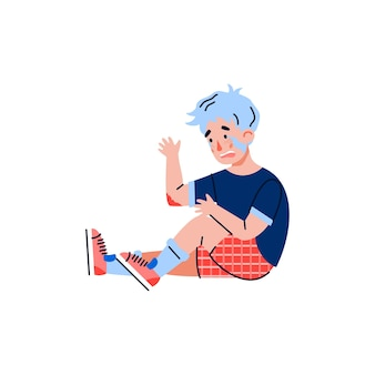 Little boy fell and got injury flat cartoon illustration