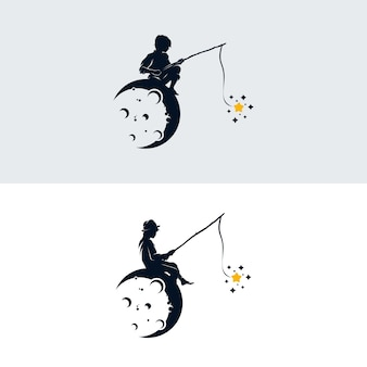 Little boy fishing stars on the moon