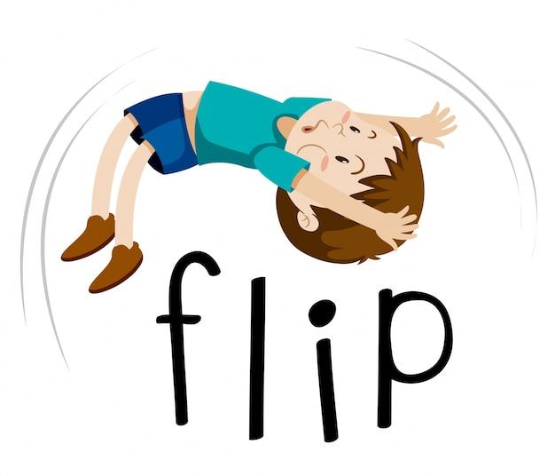 Little boy flipping on white background