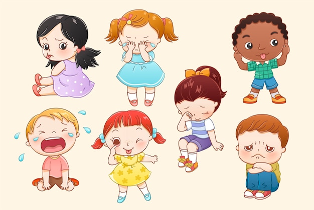 Little boy and girl characters collection in line style
