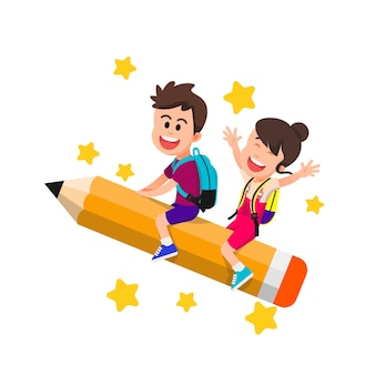 Little boy and girl riding a big pencil