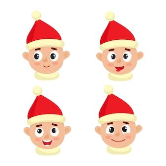 Набор выражения счастливого лица маленького мальчика