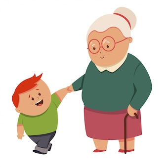 Little boy helps the grandmother. vector cartoon characters of old woman and kid isolated
