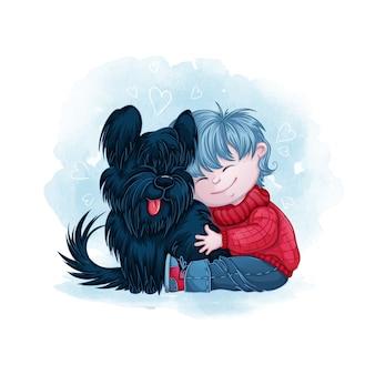 Little boy hugs his black dog friend.