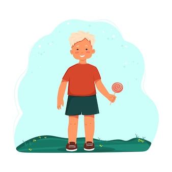 반바지를 입은 어린 소년과 롤리팝 벡터 만화 캐릭터를 들고 있는 티셔츠