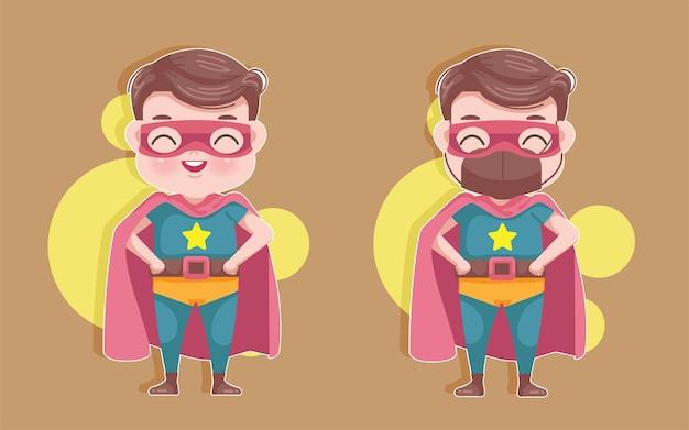 슈퍼 히어로 의상을 입은 어린 소년. 귀여운 만화 소년 마스크 covid-19는 개념을 방지합니다.
