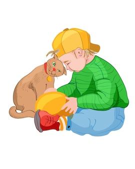 고양이와 놀고 노란색 모자에 작은 소년. 화려한 옷. 애완 동물 친구 아이디어
