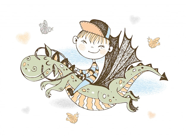 A little boy is flying on a fairy-tale dragon.