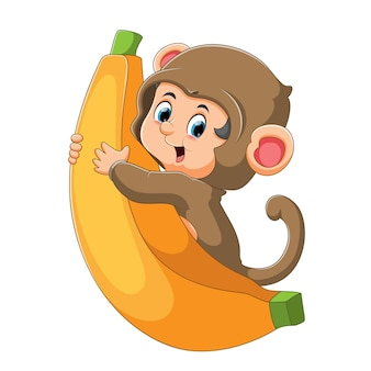 The little boy is wearing the monkey costume and hugging the big banana of illustration