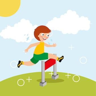장애물 경주 스포츠 아이 활동에 어린 소년 점프