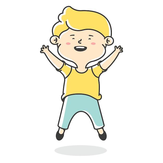 小さな男の子がジャンプします。うれしそうな挨拶。白い背景で隔離の少年キャラクター。