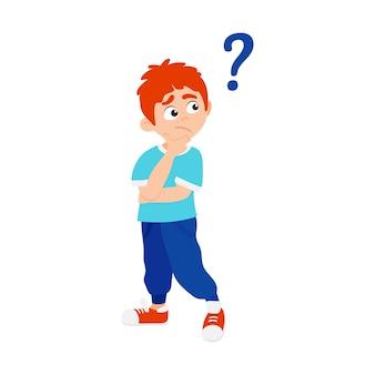 흰색 배경에 고립 된 질문 평면 스타일 디자인 벡터 일러스트 레이 션을 묻는 어린 소년 아이