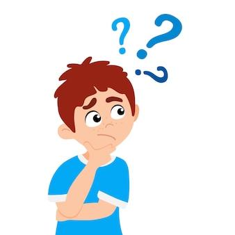 質問フラットスタイルデザインベクトルイラストを尋ねる小さな男の子の子供