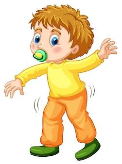 Маленький мальчик учится ходить