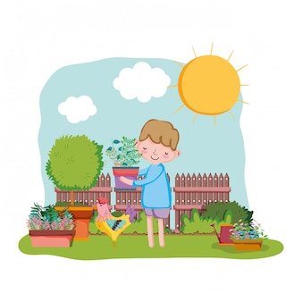 Little boy lifting houseplant with fence and rooster