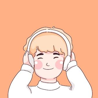 작은 소년 듣는 음악 캐릭터