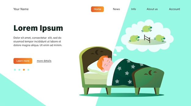 Little boy lying in bed and counting sheep. dream, kid, sleeping flat vector illustration. lifestyle and childhood concept website design or landing web page