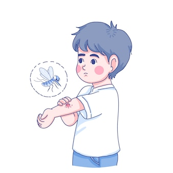 Little boy and mosquito