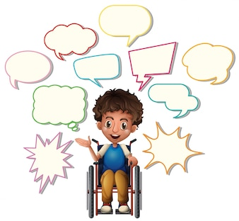 Little boy on wheelchair with blank speech bubbles