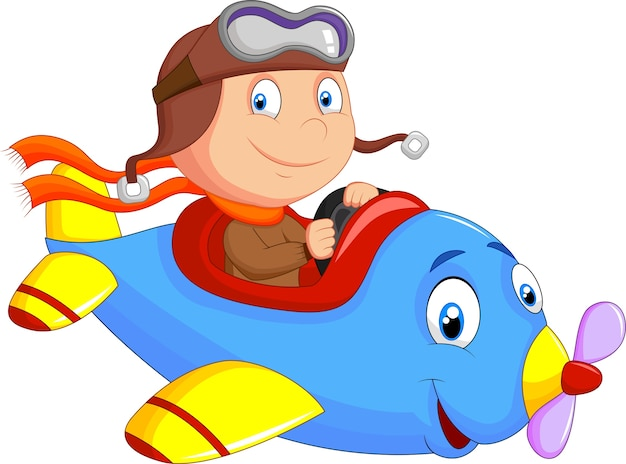 Little boy operating a plane
