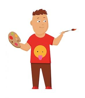 Картина мальчика с цветовой палитрой и кистью.