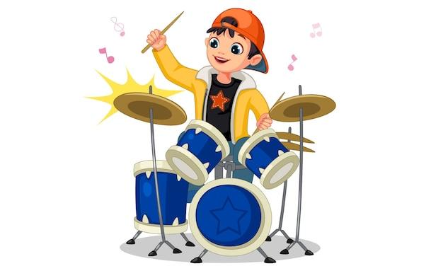 Little boy playing drum set illustration