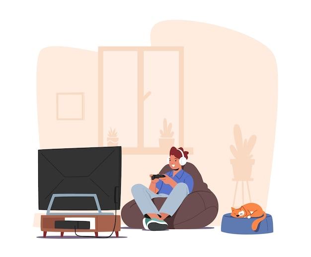 ビデオゲームをしている小さな男の子