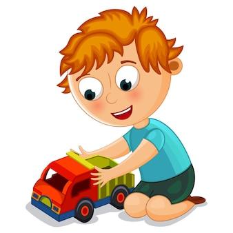 장난감 트럭 일러스트와 함께 노는 어린 소년