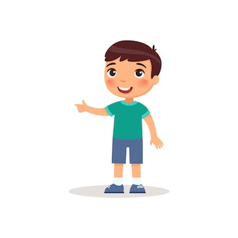 Little boy pointing with index finger flat vector illustration.
