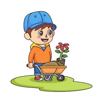 Little boy pushing wheelbarrow full of soil and a flower