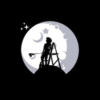 Little boy reaching stars