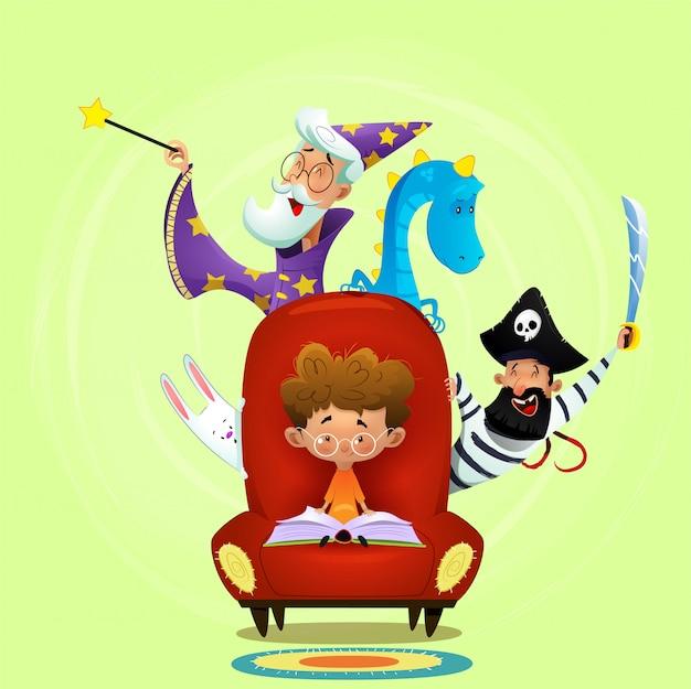Little boy read book sitting in chair.