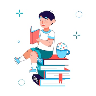 Little boy reading a book - cartoon child sitting on stack of books