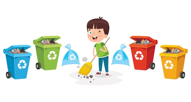 A little boy recycling garbage
