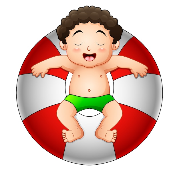 Little boy relaxing in inflatable ring