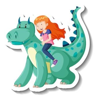 Маленький мальчик верхом на драконе мультяшный стикер