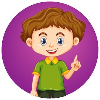 Little boy on round background