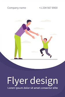 Little boy running to his dad. father and son enjoying meeting flat flyer template