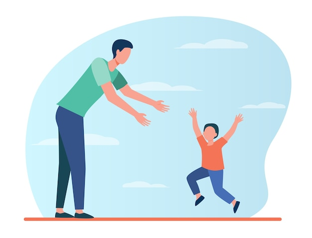 Little boy running to his dad. father and son enjoying meeting flat illustration.