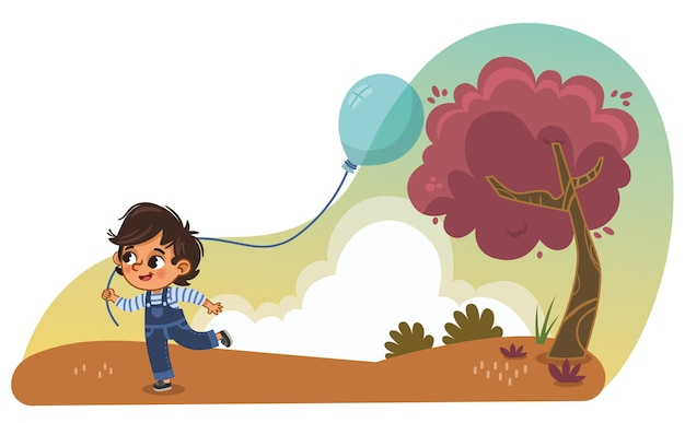 Little boy running in the park with a balloon cartoon vector illustration