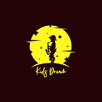 A little boy the saxophone on the moon