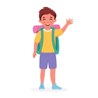 Little boy scout with backpack going to the camp summer kids camp