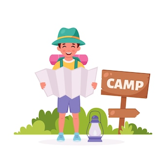 Little boy scout with map backpack camping summer kids camp