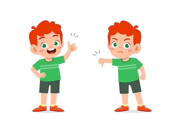 小さな男の子は手のジェスチャーを親指を上に、親指を下に見せます